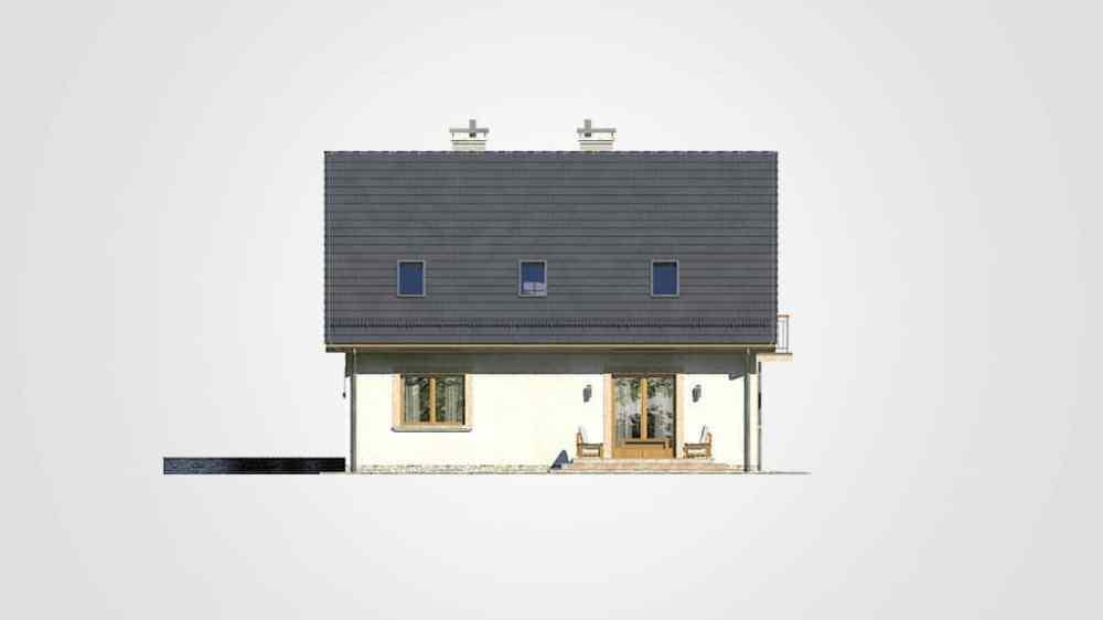 Фасад мансардного дома с гаражом, террасой и балконом «КМ-80» - сзади