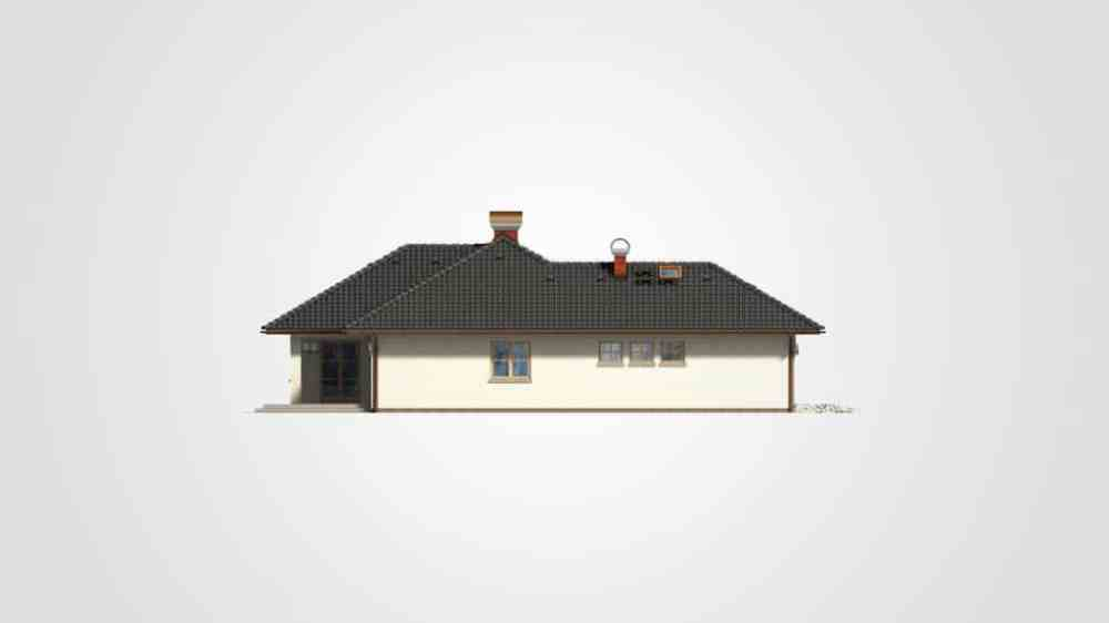 Фасад одноэтажного дома с гаражом и террасой «КО-96» - слева