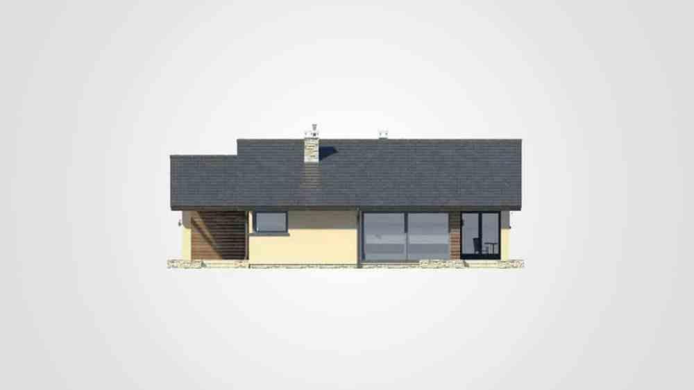 Фасад одноэтажного дома с гаражом и террасой «КО-103» - спереди