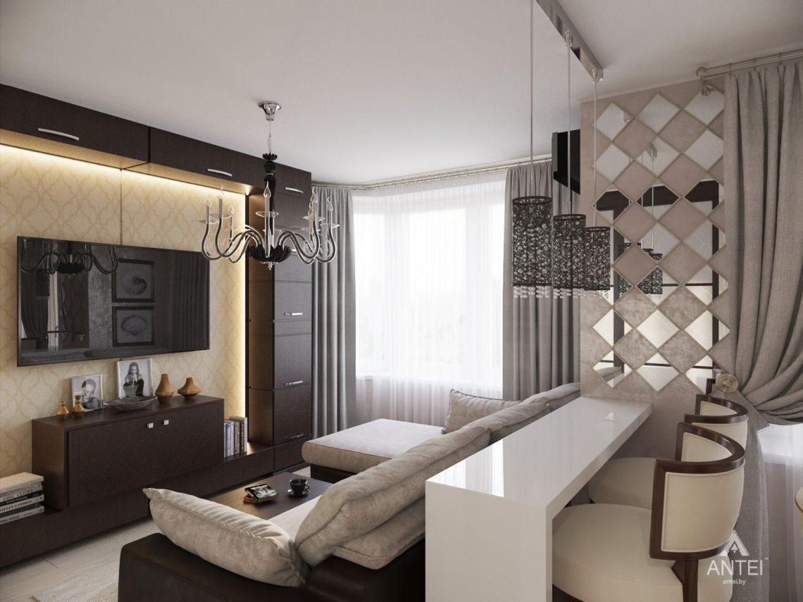 Дизайн интерьера 1-комнатной квартиры в Гомеле, ул. Пенязькова -гостиная фото №2