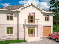 Проект двухэтажного дома с гаражом и террасой «КД-54»