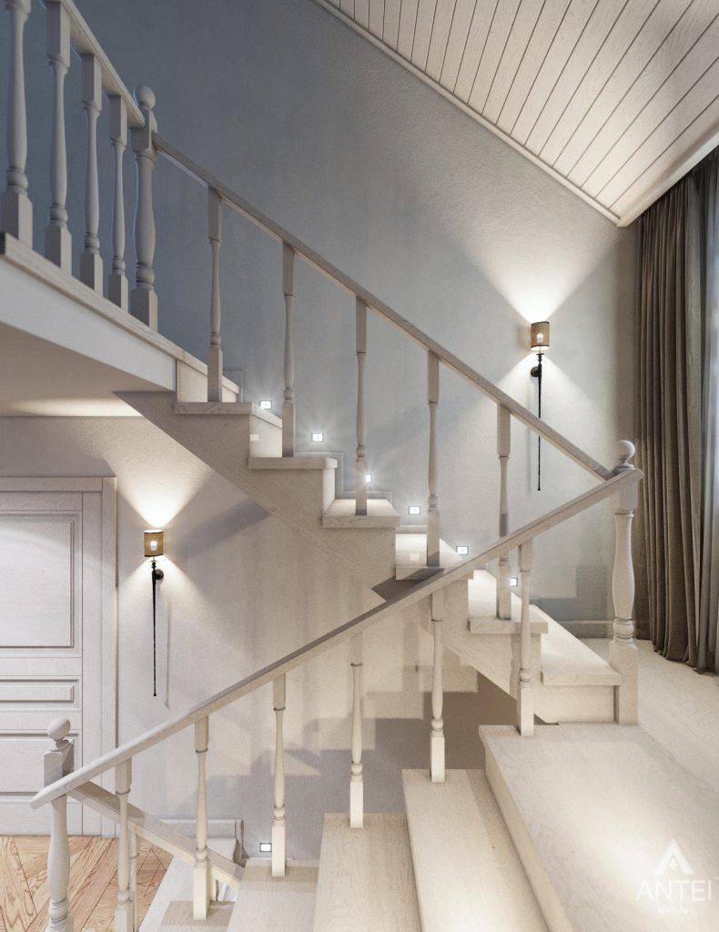Дизайн интерьера дома c мансардой в Гомеле - лестница фото №3