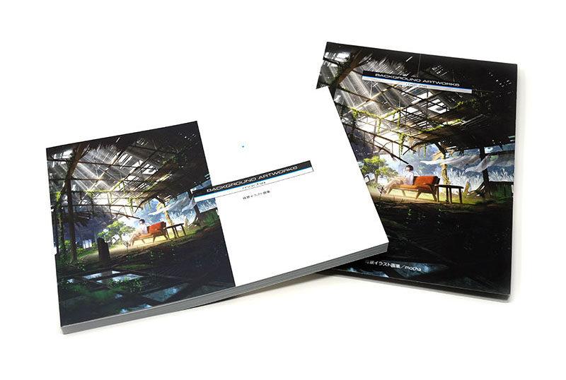 mocha背景イラスト画集装幀 スリーブと表紙デザイン