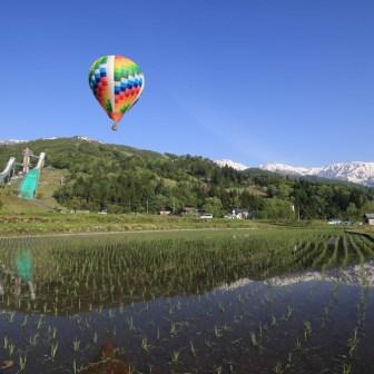 白馬ジャンプ競技場と熱気球