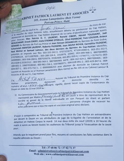 La version accordée de l'arrestation d'Antonio Jules dispensé de sa CIN 3