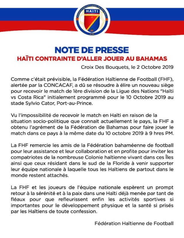 Ligue des nations: Haïti afrontera le Costa Rica au Bahamas 2
