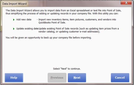 Quickbooks POS Data Import Wizard Windows