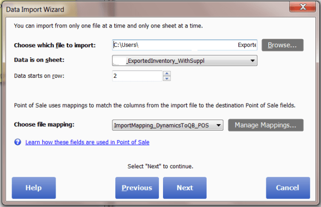 Quickbooks POS Vendor Import Step 4