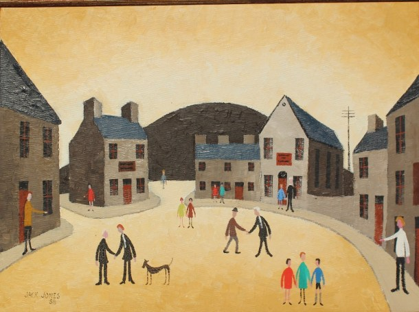 Jack Jones - A street scene, Oil on board. Jack Jones - A street scene, Oil on board.