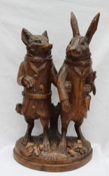 A 19th century Black Forest carved treen figure group of a fox and a rabbit. Sold for £14,000 at Anthemion Auctions