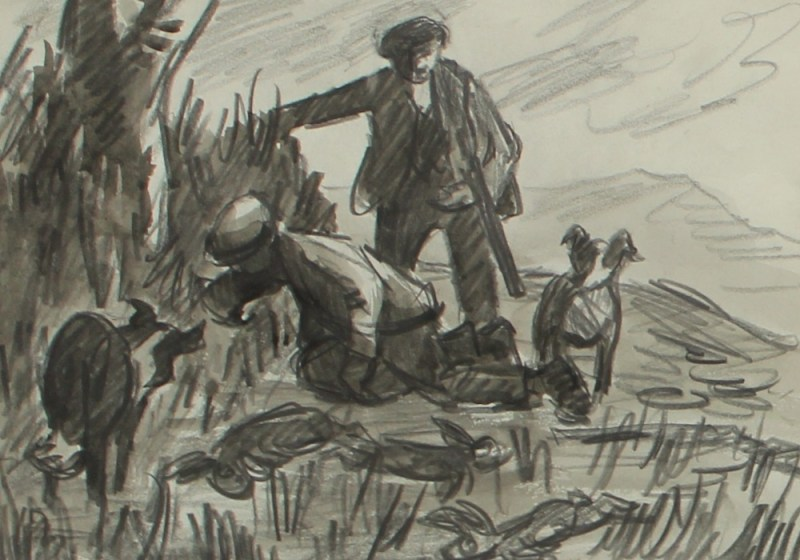 Sir Kyffin Williams, 1918-2006 - Rabbiting, Pencil Sketch. Sold for £3,000 at Anthemion Auctions
