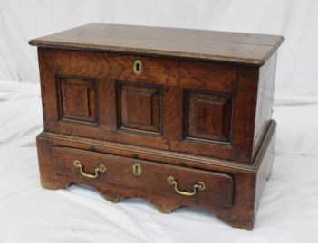 An 18th century oak coffer. Sold for £1,400 at Anthemion Auctions
