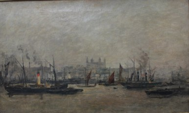 In the Style of Francois Daubigny - A harbour scene with a city beyond, Oil on canvas. Sold for £750 at Anthemion Auctions