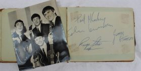 The Beatles - An autograph album containing numerous autographs, including Paul McCartney, John Lennon, Ringo Star and George Harrison of The Beatles. Sold for £750 at Anthemion Auctions