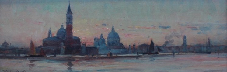 E. Aubrey Hunt - Venice, Oil on board. Sold for £600 at Anthemion Auctions