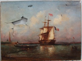 19th century continental School - A French ship moored outside the harbour, Oil on canvas. Sold for £650 at Anthemion Auctions