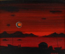 Fred Uhlman - Red sky, Oil on board. Sold for £600 at Anthemion Auctions