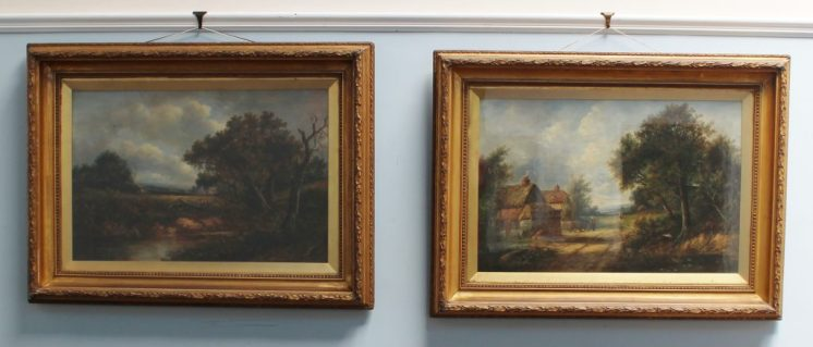 Joseph Thors - Cottages on the edge of a woodland, Oil on canvas. Sold for £600 at Anthemion Auctions