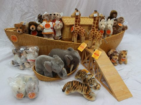 A Steiff Noah`s Ark set circa 1997, all of a limited edition of 8000 pieces, comprising the wood & wicker Ark, 038006, 102cm long, with Mr & Mrs Noah Teddy figures, plus the Noah`s Children set, limited edition no. 01587. Sold for £580 at Anthemion Auctions