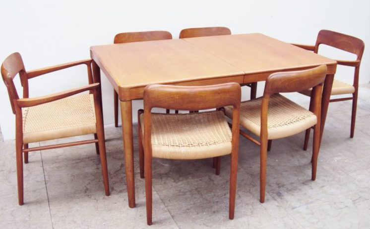 A set of six Niels Moller teak dining chairs (includes two carvers),for J L Moller, teak and beech frames with paper cord seats. Sold for £580 at Anthemion Auctions