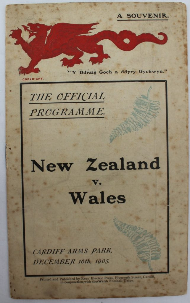 1905 - A New Zealand v. Wales rugby programme, played at Cardiff Arms Park on December 16th, 1905. Sold at Anthemion Auctions for £4,000