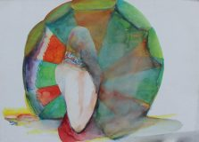 John Selway - Beach Umbrella, Watercolour. Sold at Anthemion Auctions for £300