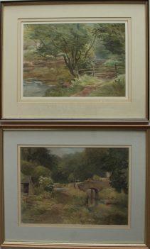 Arthur Miles - Llanhenach Lock, Watercolour. Sold at Anthemion Auctions for £80