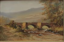 Edgar James Mayberry - A bridge across a river, Watercolour. Sold at Anthemion Auctions for £95