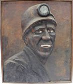 Christopher Griffin - Study of a Miner, Fibreglass/coal dust/acrylic paint. Sold at Anthemion Auctions for £45