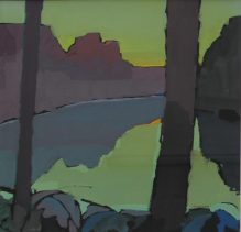 John Wright - A valley landscape in greens and purples, Gouache. Sold at Anthemion Auctions for £140