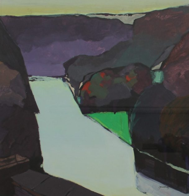 John Wright - A valley landscape in greens, reds, purples and blues, Gouache. Sold at Anthemion Auctions for £200