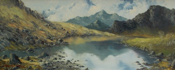 Charles Wyatt Warren Snowdon from Llyn Nantlle. Oil on board. Sold at Anthemion Auctions for £330