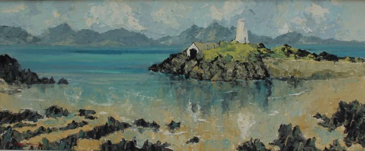 Charles Wyatt Warren Seascape with an Island. Oil on board. Sold at Anthemion Auctions for £800