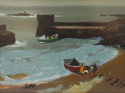Donald McIntyre - Two cobles craster. Oil on board. Sold at Anthemion Auctions for £1,700