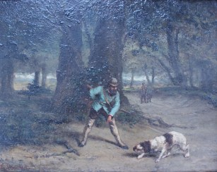 G Courbet - A Huntsman and dog in a wooded landscape, Oil on board. Sold for £1,250 at Anthemion Auctions