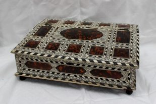 An Anglo Indian bone and tortoiseshell table top box. Sold for £1,400 at Anthemion Auctions