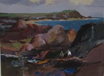 551 - Donald McIntyre Rocky shore and headland No.2 Oil acrylics A209 Sold for £2000 at Anthemion Auctions