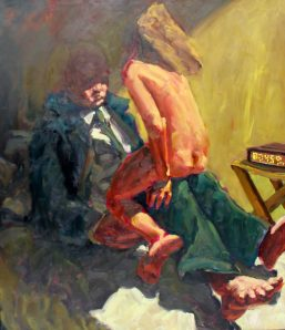 """Kevin Sinnott - """"Is love sex a joke"""", Oil on canvas. Sold for £1,000 at Anthemion Auctions"""