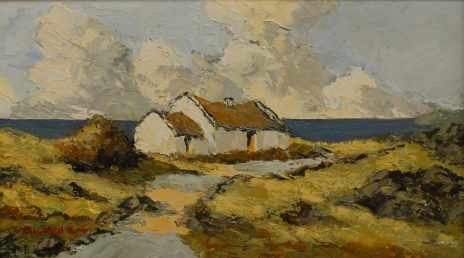 Charles Wyatt Warren - Connemara Cottage. Oil on board. Sold at Anthemion Auctions for £430
