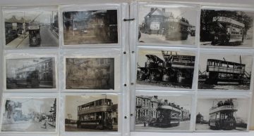 A collection of circa 160 postcards depicting trams, and postcard of bathers. Sold for £450 at Anthemion Auctions