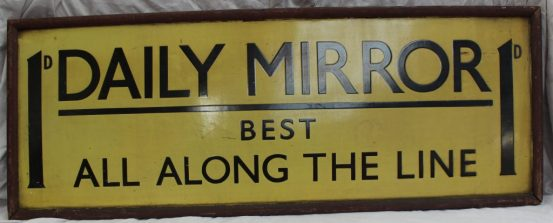 """A G.W.R commercial advertising enamel sign """"1D, Daily Mirror, Best all along the line"""". Sold for £300 at Anthemion Auctions"""