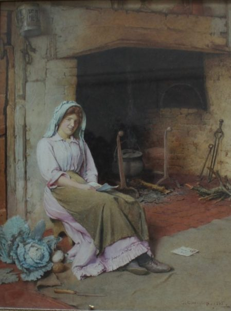 Charles Edward Wilson An interior scene with a figure seated by a fireplace reading a letter Watercolour Signed and dated 1905 41 x 31.5cm
