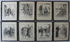 Leslie Grimes A set of eight pencil sketches with text for publication, 41 x 33cm