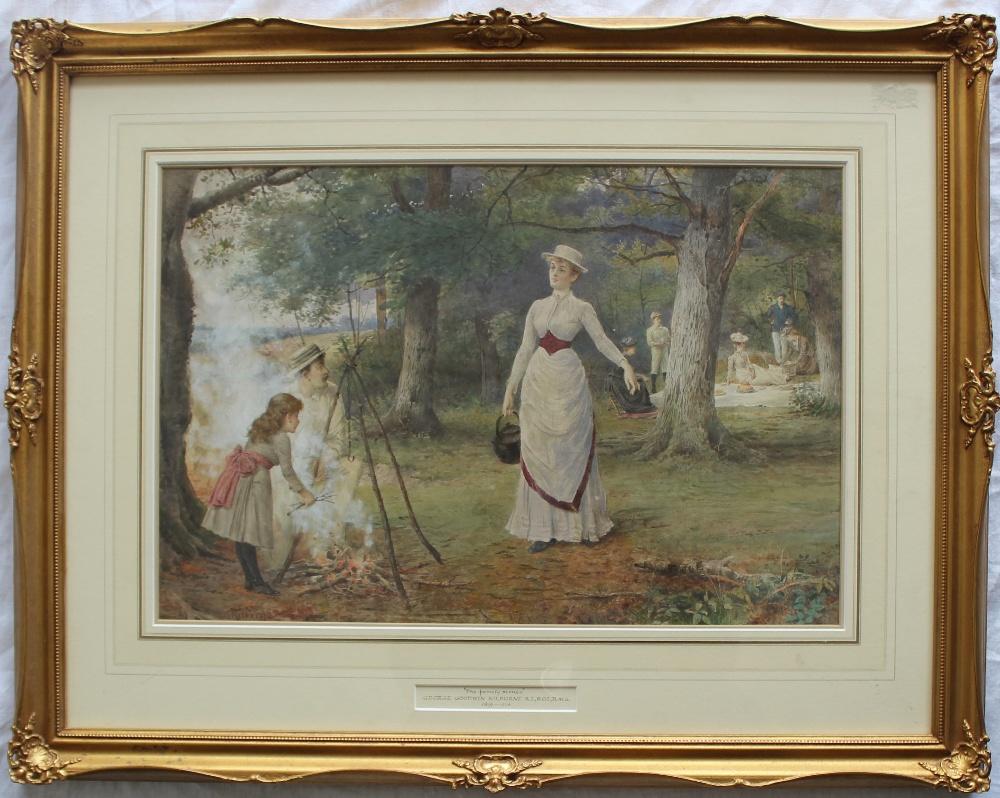 George Goodwin Kilburne R.I. R.O.I., RMS (1839-1924) The Family Picnic Watercolour Signed 34 x 50cm