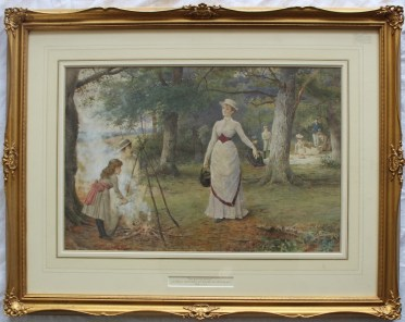 George Goodwin Kilburne R.I. R.O.I., RMS (1839-1924) The Family Picnic Watercolour Signed 34 x 50cm