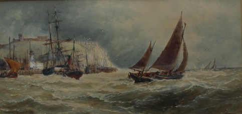 "Thomas Bush Hardy 1842-1897 ""Off Scarboro"" Watercolour Signed and dated 1890 23 x 46cms"