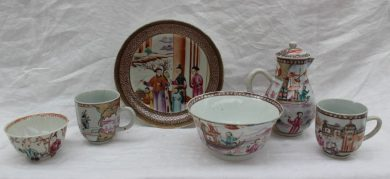 A Chinese export porcelain sparrow beak jug, together with a matching slops basin and tea cup painted with figures on boats, also a saucer dish, tea bowl and tea cup not matching but painted with figures. Sold for £160 at Anthemion Auctions