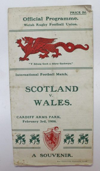 A 1906 Wales v Scotland rugby programme. Sold for £1,250 at Anthemion Auctions
