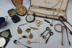 Lot 50 - Sold for £430 - Two 22ct gold wedding bands, approximately 11 grams, together with a 9ct gold medallion and signet ring, approximately 10.5 grams, two bar brooches, a yellow metal locket on a chain, an 18ct gold dress ring and costume jewellery including simulated pearls, cased mother of pearl shirt studs, silver napkin ring, silver table salt, silver sugar nips, Churchill crown, salt spoons, silver open faced pocket watch, etc