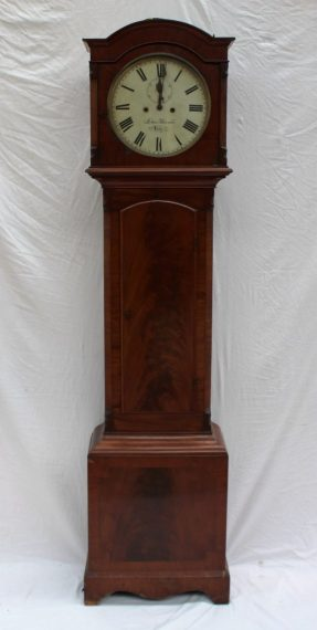 A 19th century mahogany longcase clock, the arched hood above a long trunk door, box base and bracket feet. Sold for £220 at Anthemion Auctions